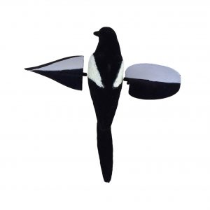 The most realistic, three dimensional flapping magpie decoy to hit the uk and european shooting market.It is operated solely by the rotation of your magpie magnet machine and doesn't require even a slight breeze to perform brilliantly.Will fit any magnet or telescopic bouncer, just attach by tighenning the thumbscrew bracket. Please note the picture shows the air magpie decoy on a telescopic bouncer which is sold separately.