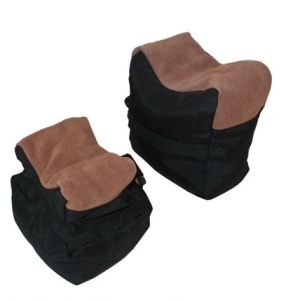 Black and beige two piece rifle rest.Secure together with plastic clip for easy transport and storage.Approx dimensions; larger rest 18cm H x 18cm L x 13cm W. Smaller rest 13cm H 15.5cm L x 14cm L.Supplied unfilled.