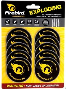 Reactive targets from Firebird. Targets that explode, ignite, flash or bang upon impact. Supplied in packs of 10A reactive target that explodes/smokes/flashes upon impact!Supplied in pack of 10Suitable gun types:  Live firing rifles (Sniperfire 65)